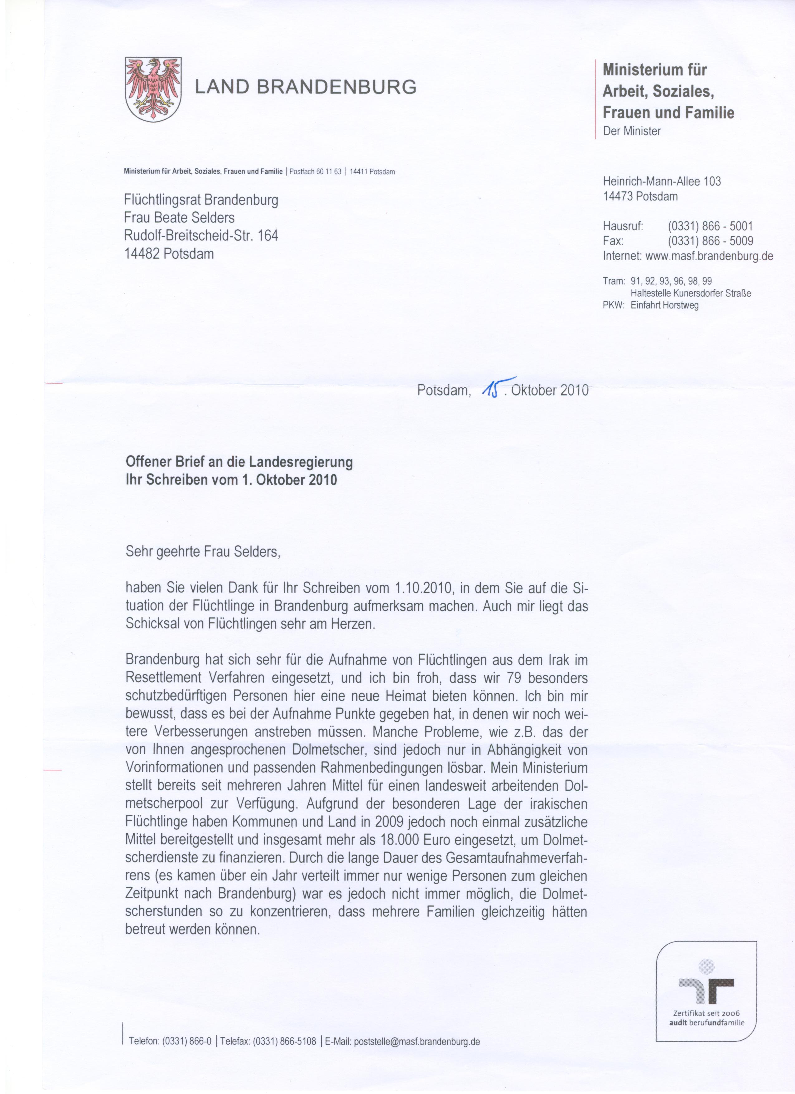 Resettlement Offener Brief An Die Landesregierung Flüchtlingsrat